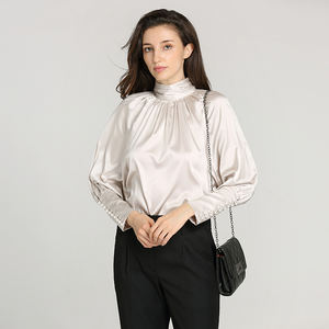 First choice 100%silk satin raglan sleeves ruffled collar delicate ladies office shirt   blouse with pearl button
