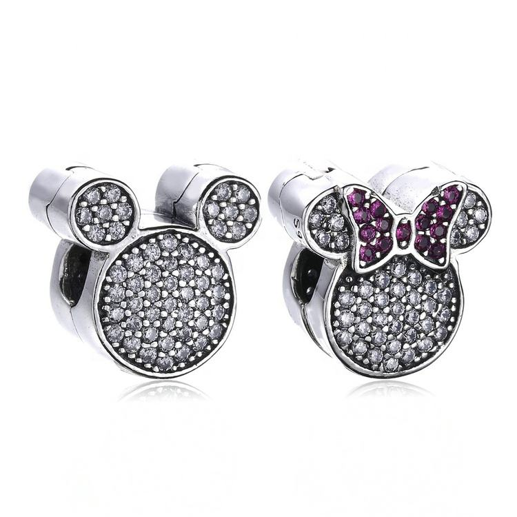 High quality zirconia bead fashion carton mickey mouse pandora silver clip on charms