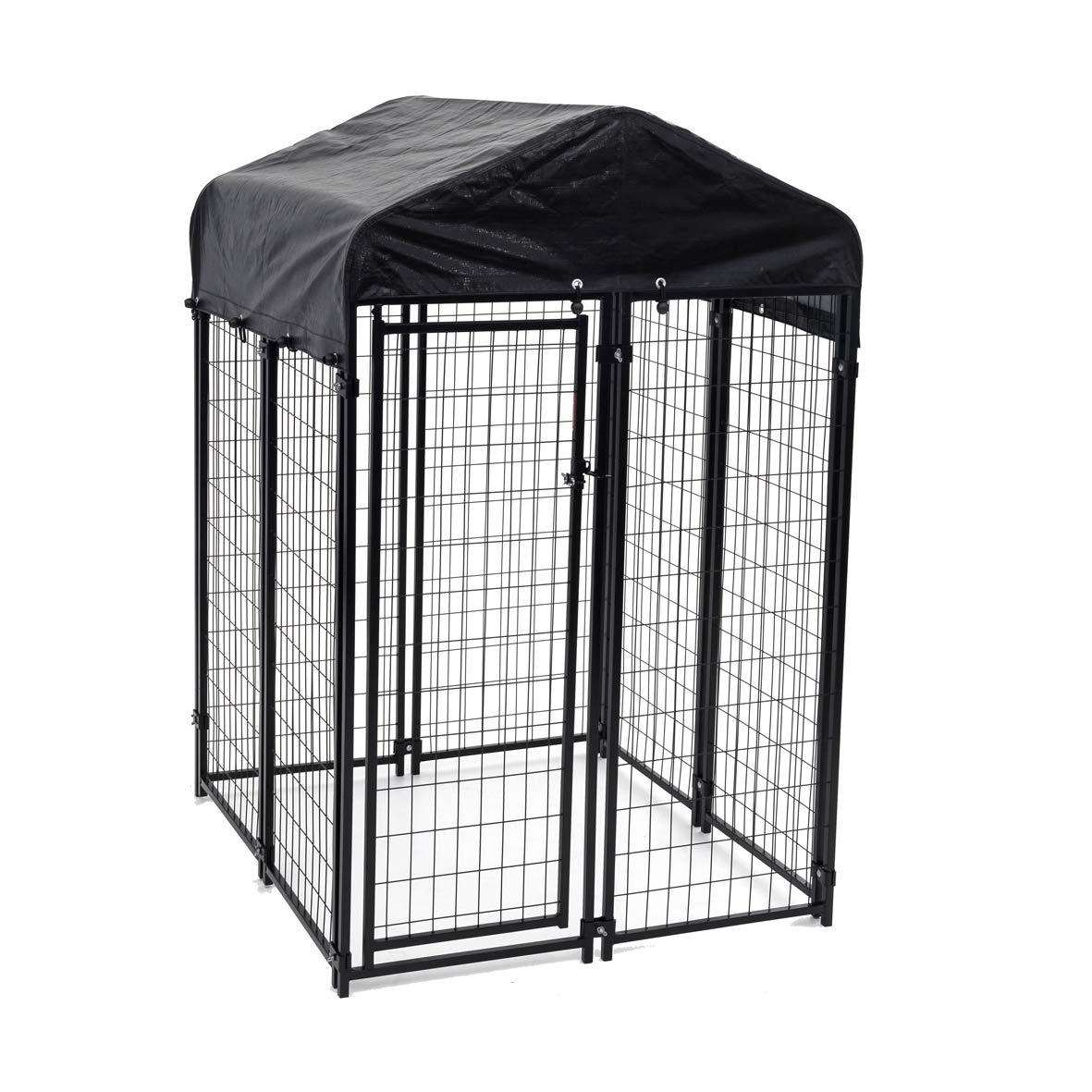 large modular outdoor garden yard connected enclosed welded wire mesh fencing panels dog kennel with cover