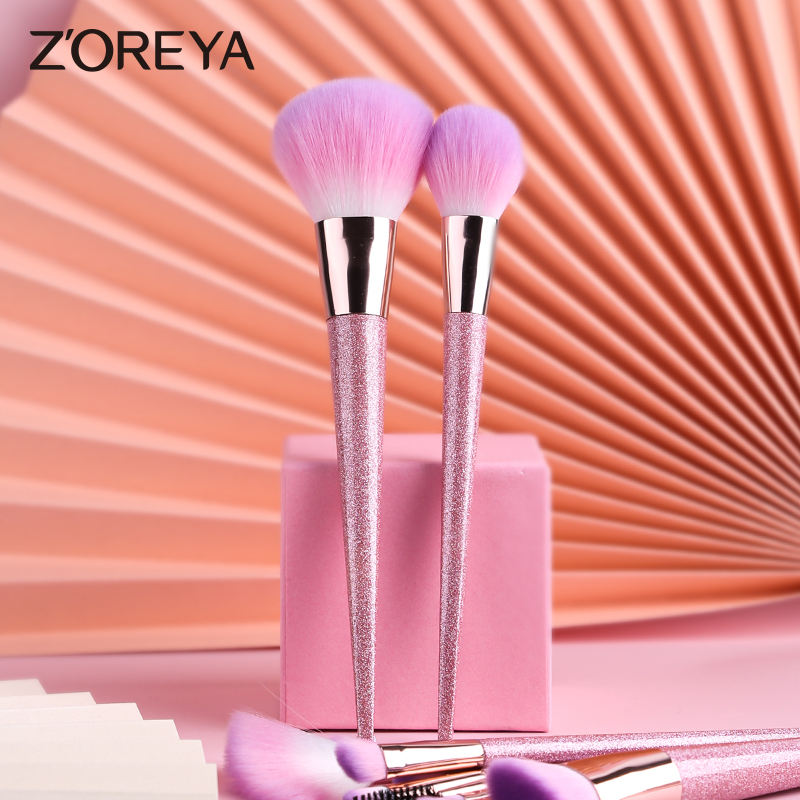 New 12pcs glitter pink brushes set makeup private label pinceles de maquillaje profesional rhinestone makeup brushes