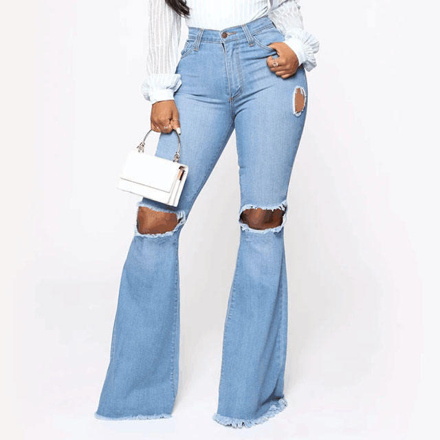 New fashion hole ripped denim flare pants wide leg women high waist bell bottoms jeans