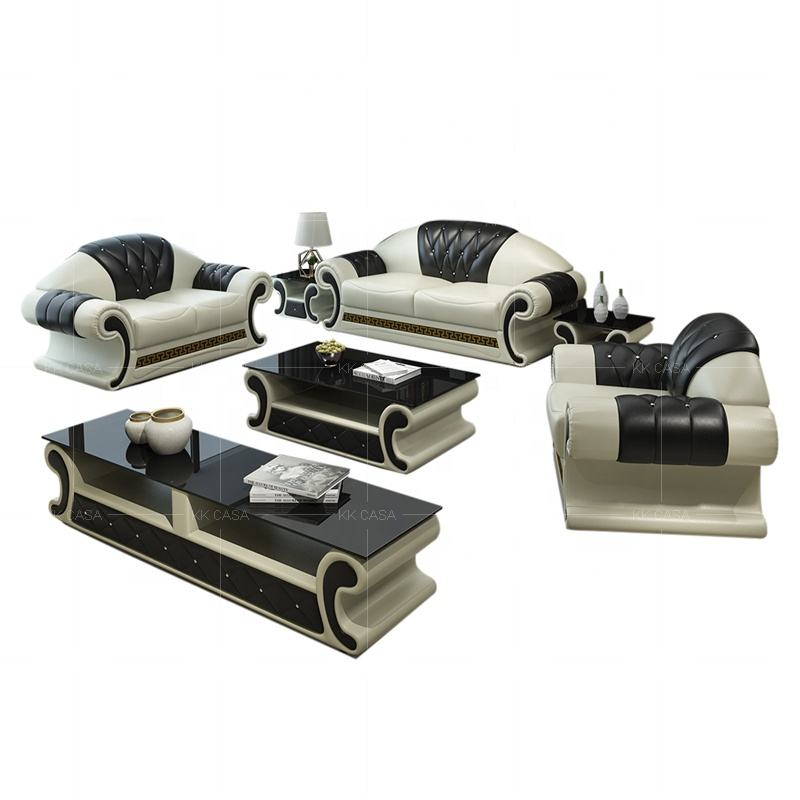 Living room 123 sectional sofa set Dubai Modern Furniture from Canton Fair High Quality Black Leather sofa