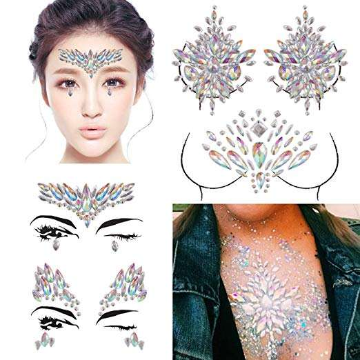 wholesale custom Rave festival face gems chest body mermaid rhinestone tattoo crystal sticker body jewels