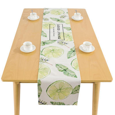 Best price fruits printed linen cotton banquet decoration table runner