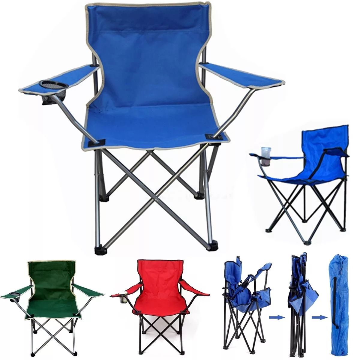 Outdoor Portable Folding Chair Fishing Camping Beach Picnic Chair Seat With Cup Holder Oxford Cloth Lightweight camping chair