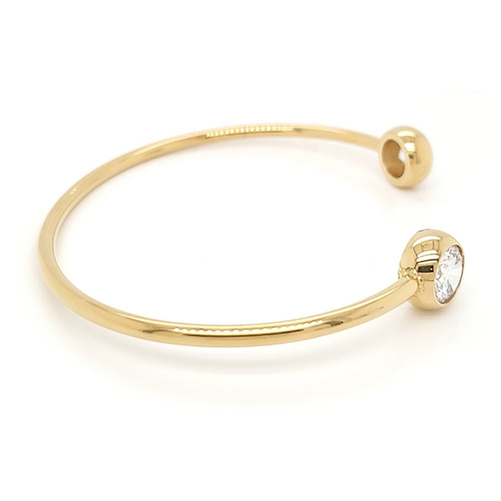Bangle Bangle Wholesale Simple Design 18K Gold Plating Cuff Bangle Gemstone Bracelet Unisex
