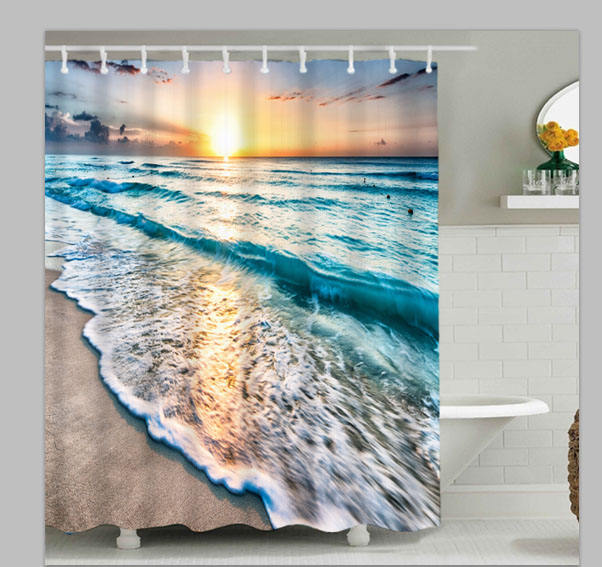 Sunrise on ocean 3D digital heat transfer printing shower curtain on polyester