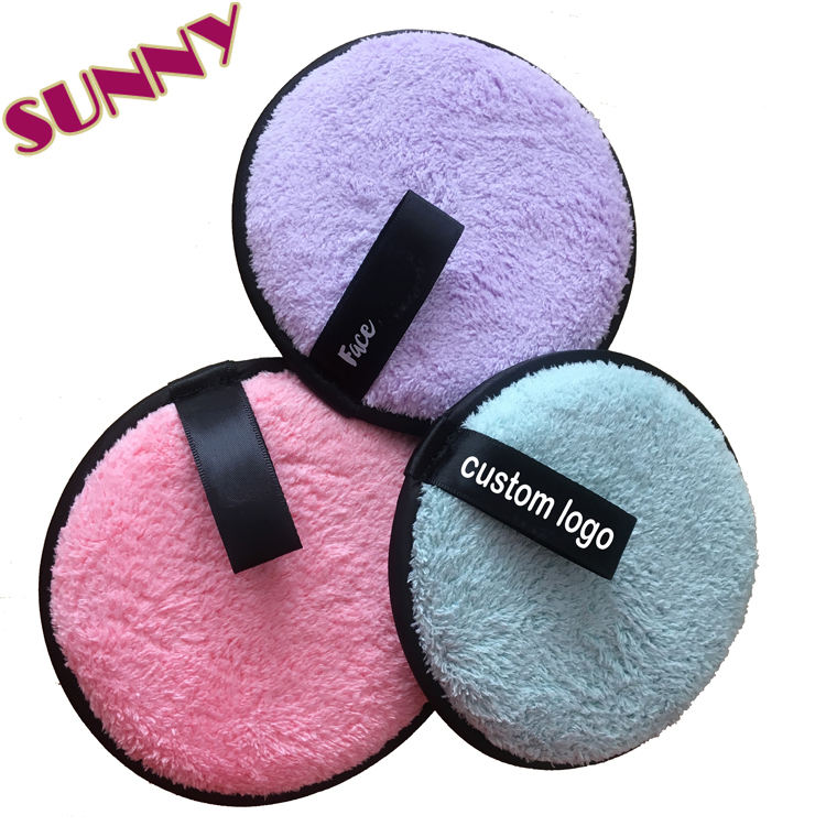 Reusable And Washable Microfiber Cloth Puff Facial/Face Cleaning Sponge Custom Logo Makeup Remover Pads With Box