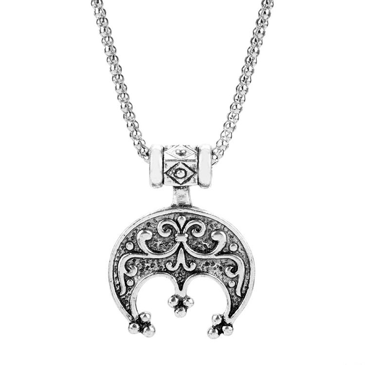 Necklace for Men Jewelry Nordse Viking Necklace Totem Amulet Slavic Lunula Pendant Necklace Charm Rope Chain Necklace For Men Women Gift