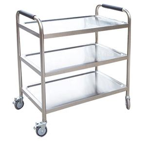 Commercial stainless steel round tube assembled three layers mobile bowler trolley for restaurant 70x55x90cm