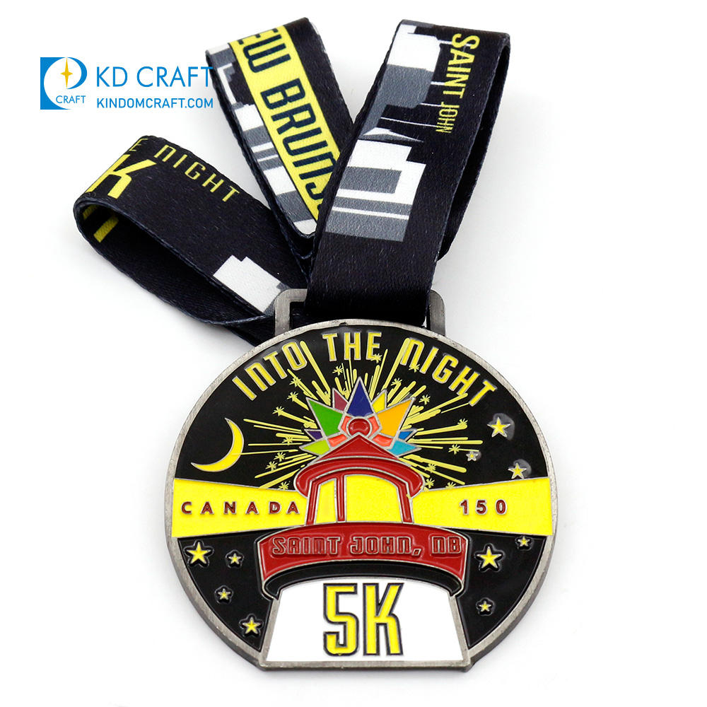 Made in china custom personalized metal zinc alloy soft enamel malaysia city 3k 5k running finisher medals