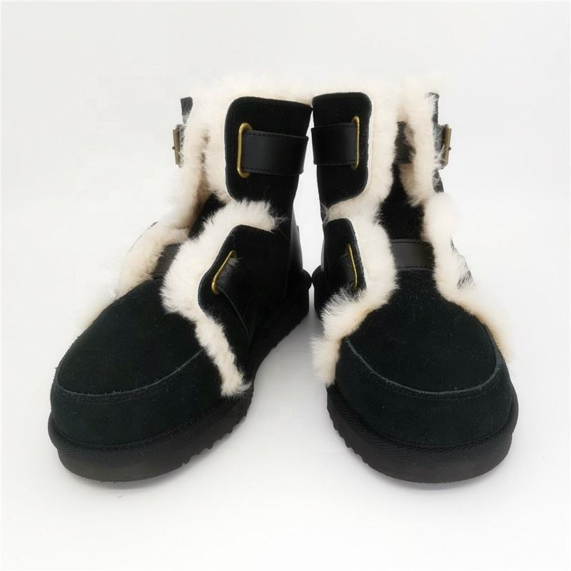 HQB-WS017 Fashionable hot selling snow boots premium quality thermal winter boots genuine sheepskin boots for lady