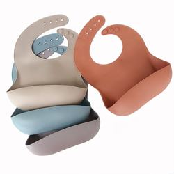 Silicone Baby Bibs  Waterproof Easy Wash  Silicone Bib for Babies Toddlers  Baby Feeding Bibs with Large Food Catcher