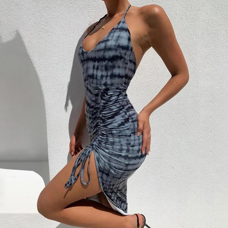 2021 Women's new fashion all-match sexy split ends show leg length printed slim dresses