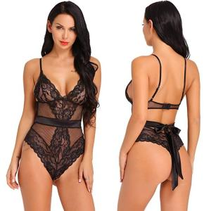 Wholesale Bulk Cheap Wholesale Women Romantic Bodysuit Transparent Sheer Mesh Lace Backless Sexy Lingerie for Women
