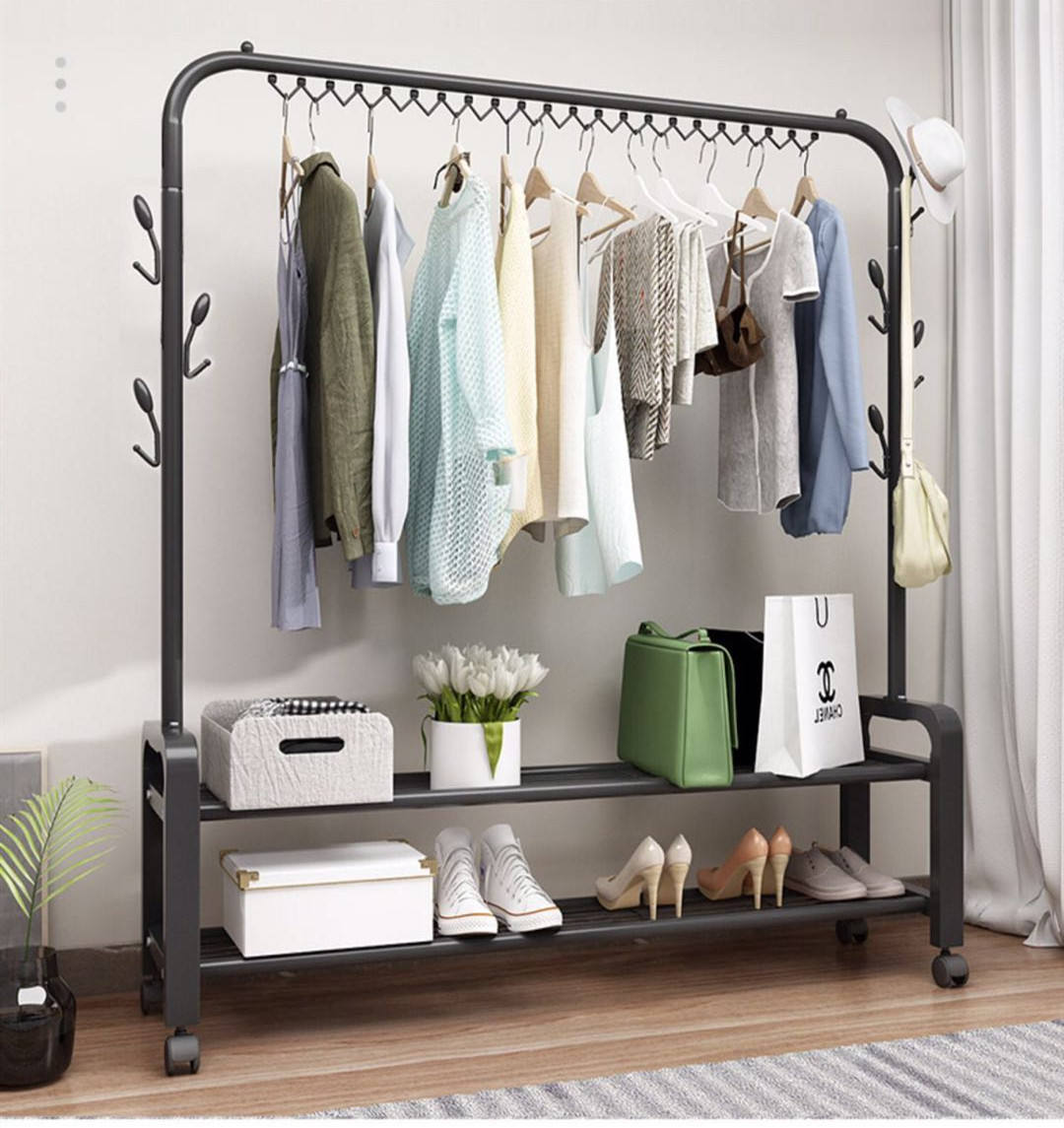 Wholesale New Design Clothes Rack Coat Hanger Stand Stainless Steel Clothes Drying Rack Bag Shoes Storage Hat Hanging shelf