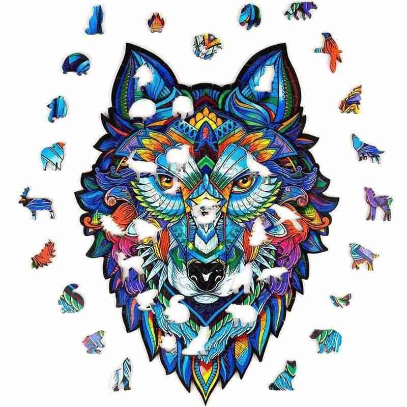 Thicken Unique Wooden Animal Jigsaw Puzzles Mysterious Wolf Owl 3D Puzzle Game For Adults Kids Montessori Children's Toys Gift