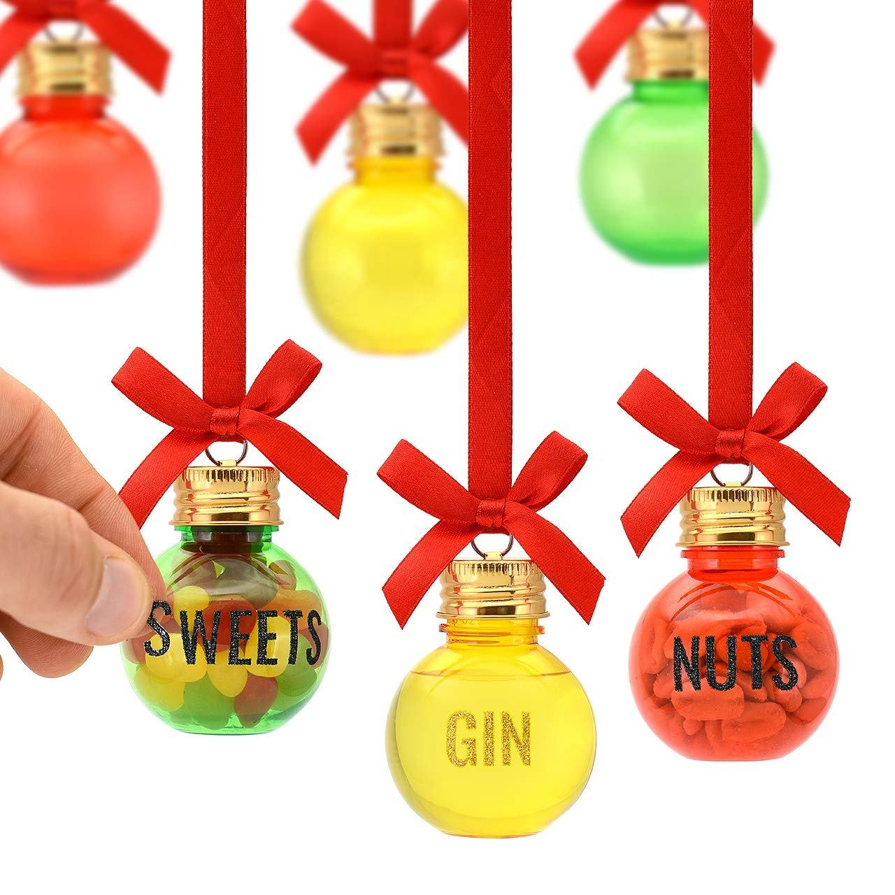 Christmas Xmas BaublesのSet 6 50ミリリットルPersonalise Fill Your Own Gift Set To Decorate With Sweets Nuts Booze Gin Vodka Whisky
