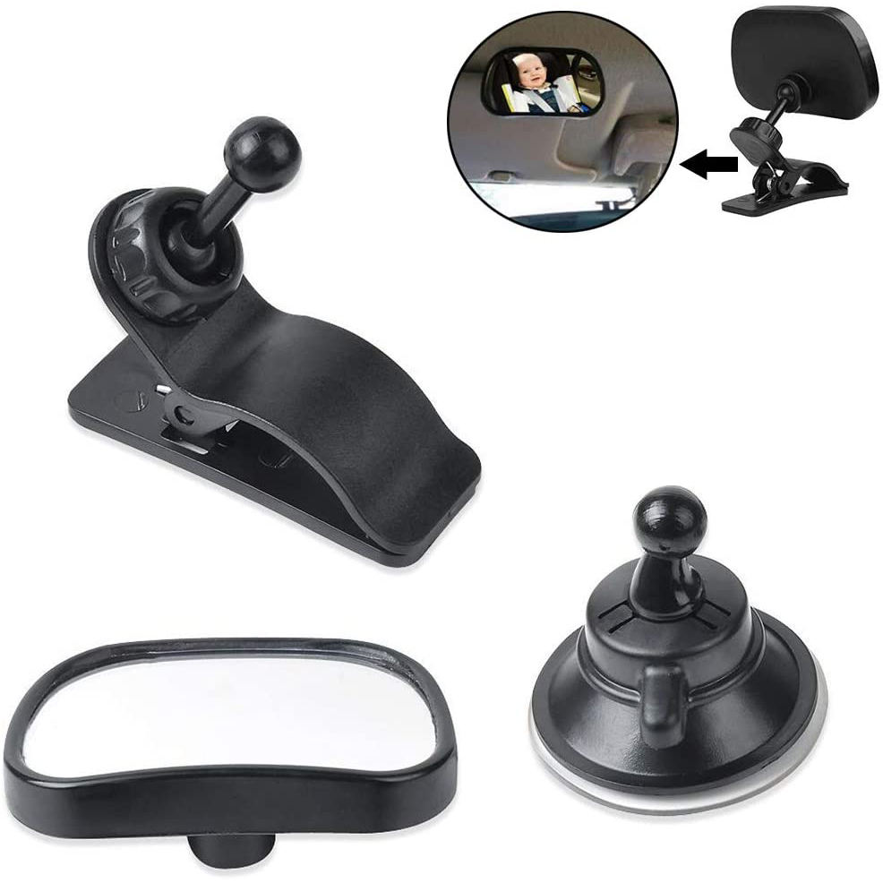 Baby Car Mirror Back Seat Safety Car Rear View Mirror Child Observation Mirrors to Keep an Eye on Baby or Kids, Suction Cup/Clip