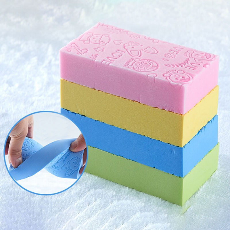 Dropship High Quality Soft Cartoon Baby Bath Sponge Brush Rubbing Scrubber Pad for Toddler Infant