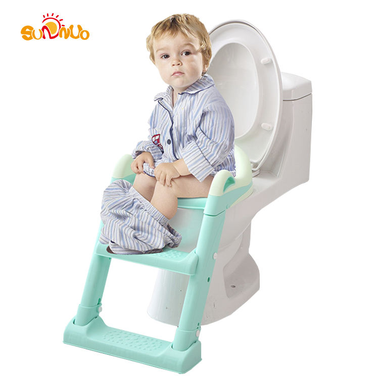NEW design potty training seat with Anti-Slip Pads Ladder portable kids toilet seat baby potty chair with Adjustable Ladder