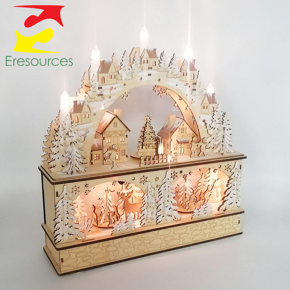 Plywood Laser Cut Christmas Scene with LED Light