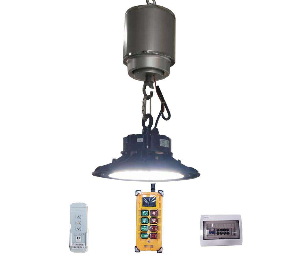 Wireless remote control light lift led high bay lighting lifter for railway/airport/gymnasium