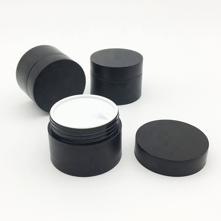 Custom Silk Printing PP Small 15ml 15g Acrylic Empty Plastic Black Sample Matt Cosmetic Cream Jar