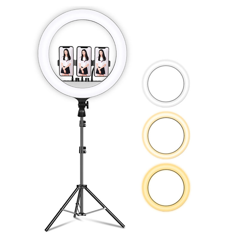 Remote Control 2700K-6500K Lamp Camera Ringlight Dimmable 2.1M Tripod Stand Neewer Bulb 18 Inch Circle Ring Light ht