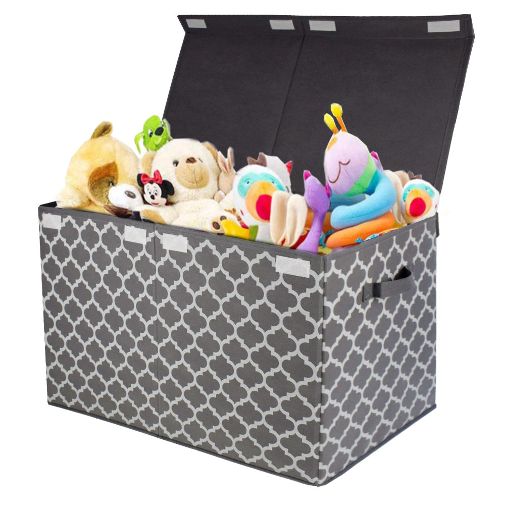 2019 Rectangle Covered Decorative Non Woven Fabric Folding Cardboard Clothes Toy Storage Box with lid Folding Closet Organizer