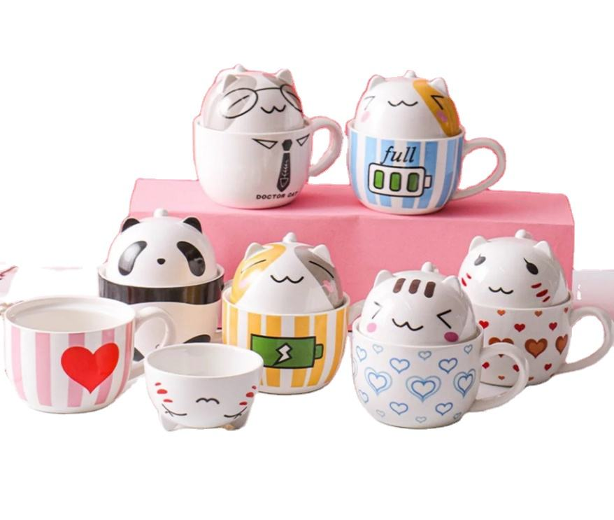 Creative Cartoon Porcelain Cute 3D Mugs Large Milk handle Cup cat coffee tea breakfast mug ceramic with dessert lid