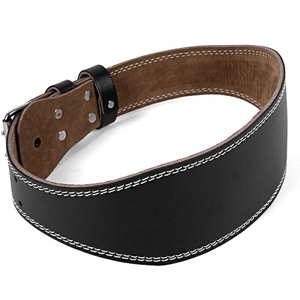 Men Women Faux Leather Weight Lifting Belt Double Prong Power Waistband