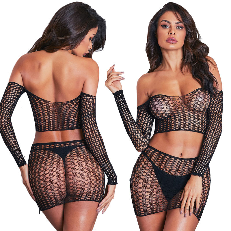 Wholesale Bulk See Through Sheer Mesh Femme Hot Transparent Shiny Fishnet Women Sexy Lingerie