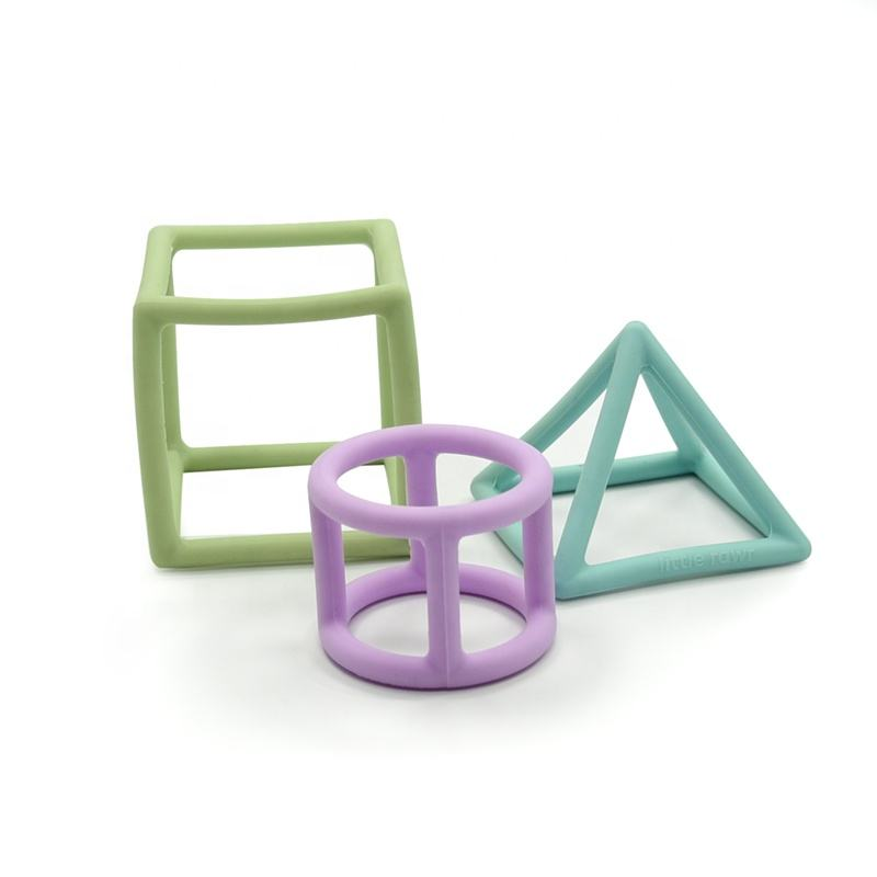 Little Rawr Food Grade Silicone Cube Cylinder Pyramid Geometrical Teether for Infants and Toddlers
