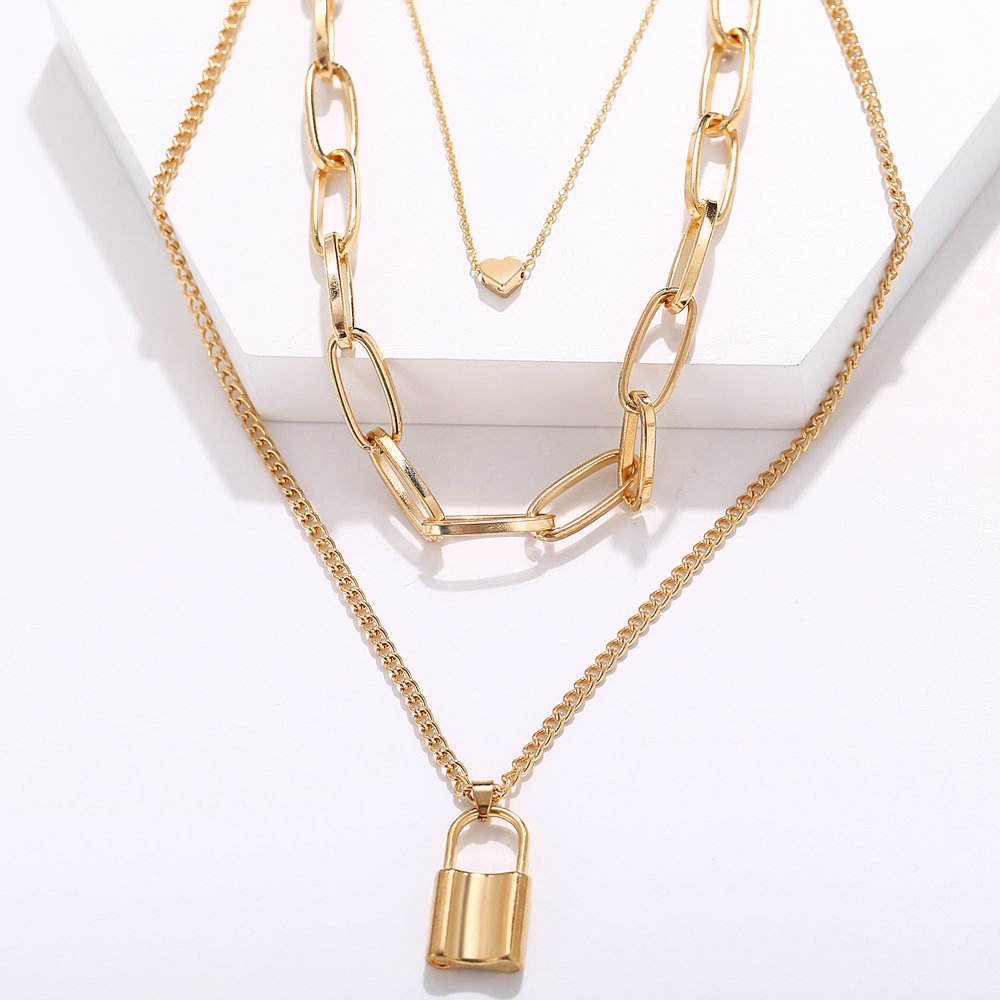 Alloy simple heart lock type pendant necklace creative retro multi - layer necklace