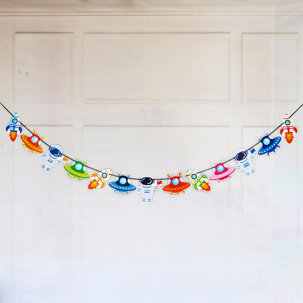 Alien Space Party Decoration UFO Galaxy Robot Bunting String Flags Garland Banner for Baby Shower Kids Children DIY Gifts