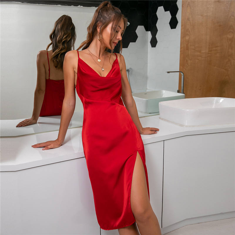 Women Spaghetti Strap Backless Elegant Red Satin Split Bodycon occasion Sexy Party club Evening Dress