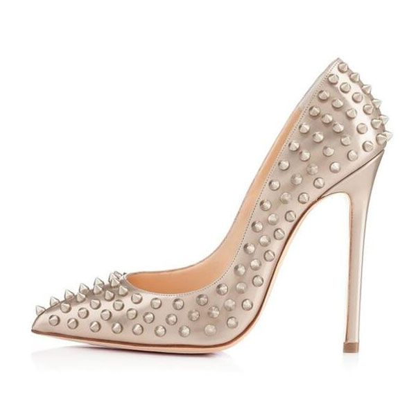 Rivet Studded Pointed Toe Stiletto Heel Women's High Heels Light Silver