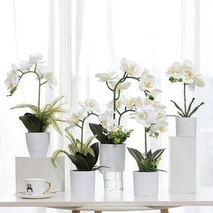 M069 Wholesale Dendrobium Cattleya Orchid Plants Silk Preserved White Phalaenopsis Orchid Pot Artificial Orchid In The Pot