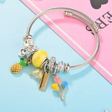 Modalen Cute Girl Fruit Stainless Enamel Pineapple Letter Charm Bracelet Bangle,Stainless Steel Jewelry