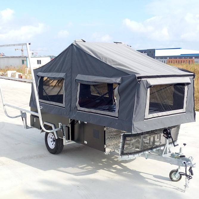 2019 New fashion Luxury Rear Fold Camper Trailer With Canvas Tent For Sale