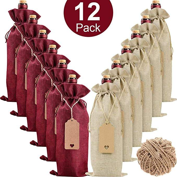 wine bottle bags with drawstring-After school snack wine glass cover cotton burlap wine bags