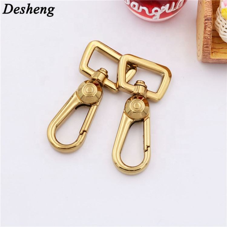 Case and Handbag Accessories Hardware Snap Clasp Square Ring Custom Glitter Bag Gold Swivel Snap Hook Hanger