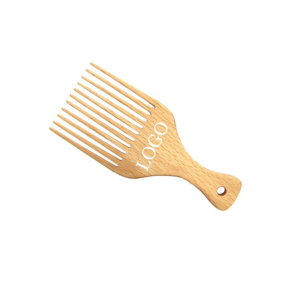Free Custom LOGO Wholesale Wooden Hair Pick Comb Afro Beech Wooden Pick Comb For Men