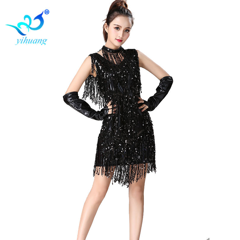Brillant Ballroom Latin Dance robe métallique bal Cocktail robes de soirée paillettes gland Costume Jive/Salsa/Jazz danse