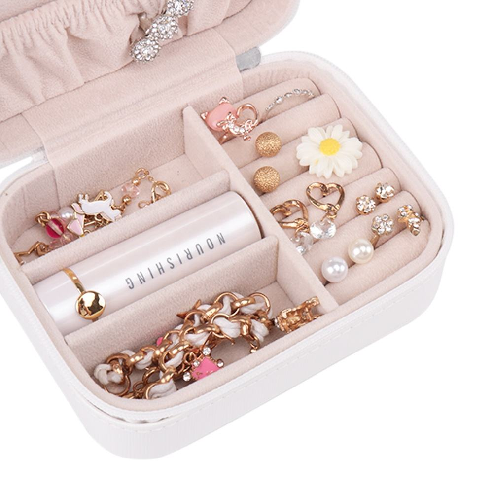 BMD PU17001-N1902 White jewelry gift box Zipper travel jewelry organizer case