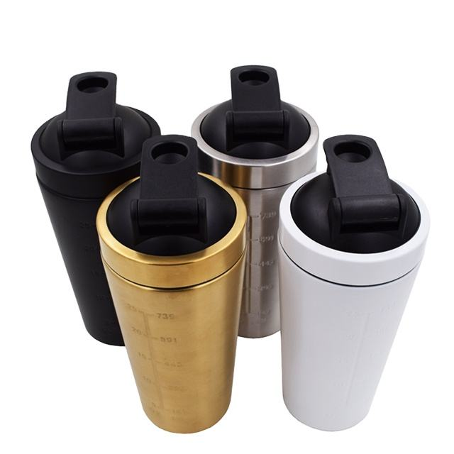 Chinese supplier 750ml shakers disposable stainless steel protein shaker
