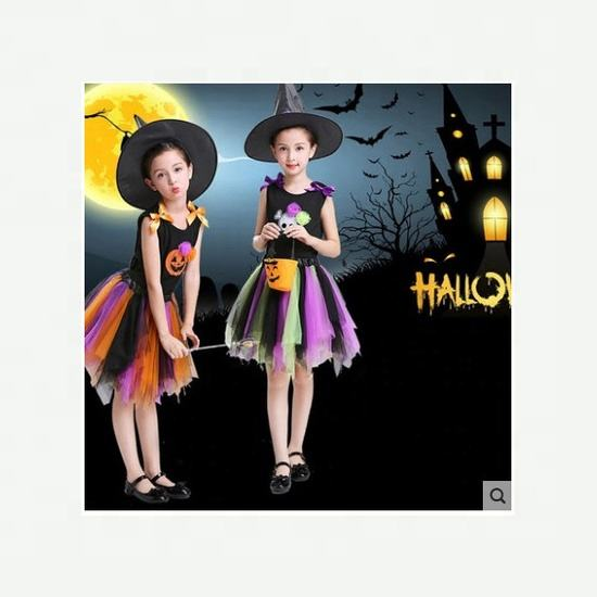 Hot Selling Kids Halloween Party Dresses Cute Witch Hat Halloween Children Costumes