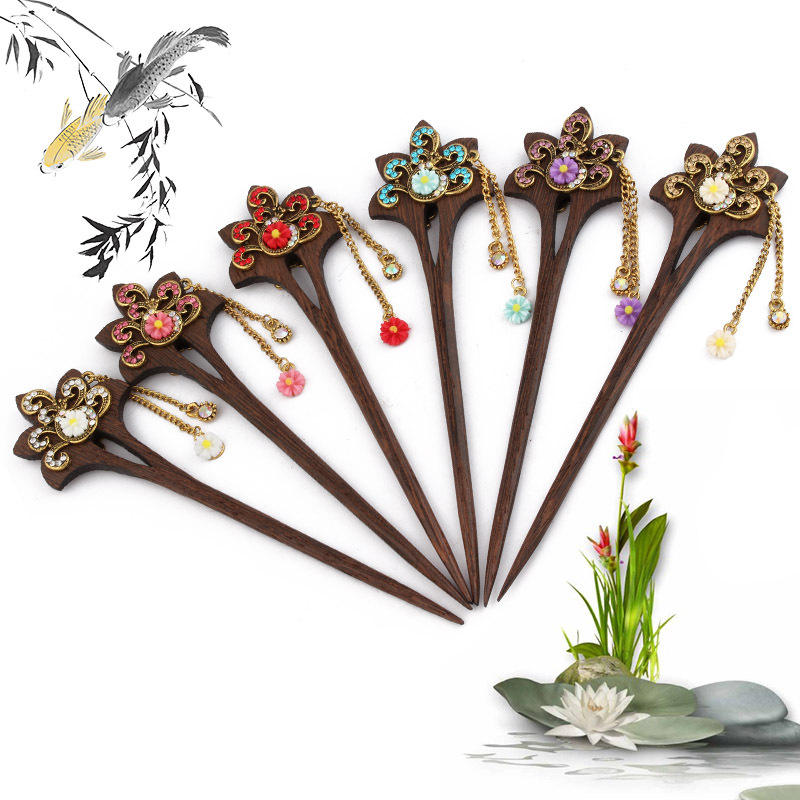 Retro Classical Chinese Palace Tassel Wooden Hair Stick Pin Elegant Hairpin