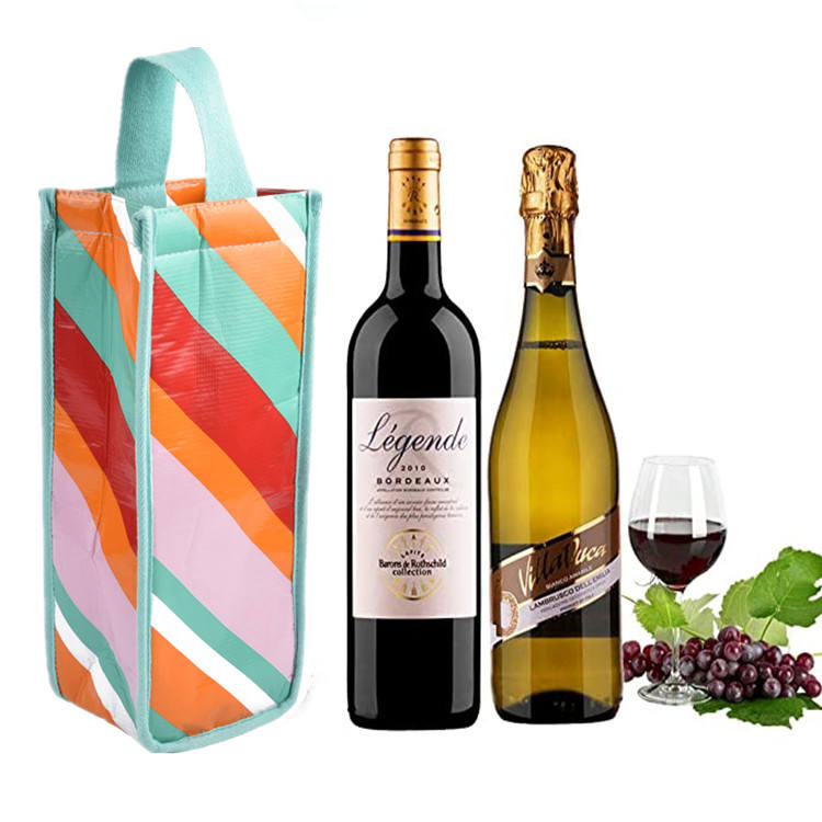 Eco Friendly RPET Wholesale Custom waterproof Insulated 1 Bottle Cooler Reusable Wine Bag